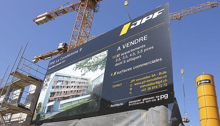Panneau de chantier imprimé JPF à Bulle Fribourg Suisse