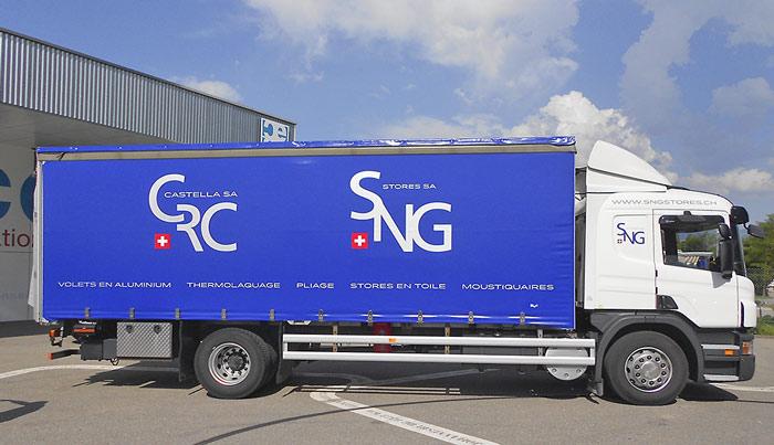 Bâche et banderole remorque camion publicitaire peinte