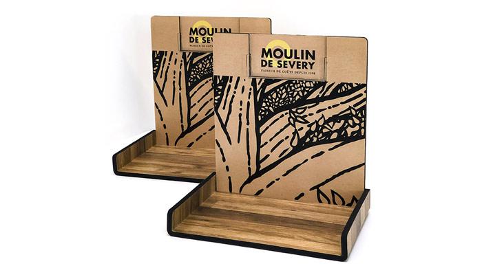 display-produits-carton-bois-kraft présentoir à huile et produits