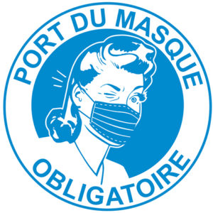 autocollant COVID vintage rigolo port du masque obligatoire modèle C